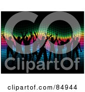 Royalty Free RF Clipart Illustration Of Black Silhouetted People Dancing Over A Wavy Halftone Rainbow Background by KJ Pargeter