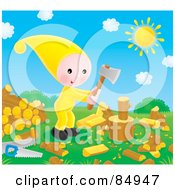 Royalty Free RF Clipart Illustration Of A Happy Little Elf Chopping Wood On A Sunny Day