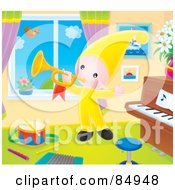 Royalty Free RF Clipart Illustration Of A Happy Little Elf Playing A Horn By A Window Of A Music Room by Alex Bannykh