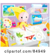 Royalty Free RF Clipart Illustration Of A Happy Little Elf Drawing A Picture Of A Home In An Art Room by Alex Bannykh