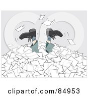 Royalty Free RF Clipart Illustration Of A Businessmans Legs Sticking Up Out Of A Pile Of Applications Or Paperwork by Alex Bannykh #COLLC84953-0056