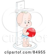 Royalty Free RF Clipart Illustration Of A Happy Little Baby Holding A Red Ball And Standing On A Height Scale by Alex Bannykh