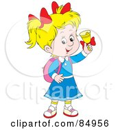 Royalty Free RF Clipart Illustration Of A Blond Caucasian School Girl Ringing A Bell