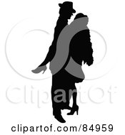 Tango Dancing Couple In Silhouette Pose 4