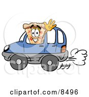 Slice Of Pizza Mascot Cartoon Character Driving A Blue Car And Waving