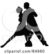 Royalty Free RF Clipart Illustration Of A Tango Dancing Couple In Silhouette Pose 3