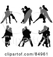 Digital Collage Of Tango Dancing Couples In Silhouette