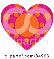 Royalty Free RF Clipart Illustration Of A Heart With Pink And Orange Polka Dots