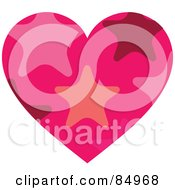 Royalty Free RF Clipart Illustration Of A Heart With A Star Pattern