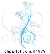 Wintry Design Element Of Swirls And Snowflakes