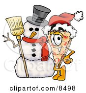 Clipart Picture Of A Slice Of Pizza Mascot Cartoon Character With A Snowman On Christmas