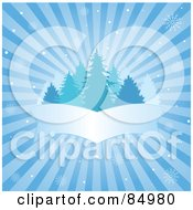 Royalty Free RF Clipart Illustration Of A Blue Bursting Winter Background With Snowflakes Evergreens And A Blank Banner by Pushkin