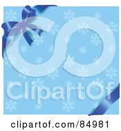 Royalty Free RF Clipart Illustration Of A Blue Ribbon And Bow On The Corner Of A Blue Snowflake Background