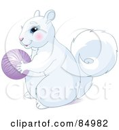 Cute White Squirrel Holding A Purple Ball