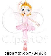 Royalty Free RF Clipart Illustration Of A Pretty Ballerina Fairy Dancing With One Arm Over Her Head by Pushkin