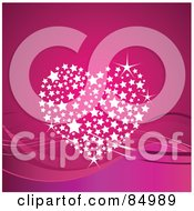 Royalty Free RF Clipart Illustration Of A Sparkly Heart Made Of White Stars Over Waves On Pink