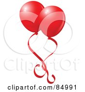 Royalty Free RF Clipart Illustration Of Two Red Valentines Day Balloons With Red Ribbons
