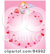 Royalty Free RF Clipart Illustration Of A Cupid In A Circle Of Hearts On Pink by Pushkin