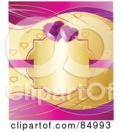Royalty Free RF Clipart Illustration Of A Golden Heart Patterned Background With Purple Waves A Blank Gold Text Box And Gem Hearts