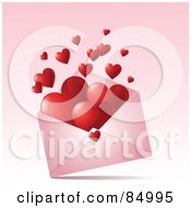 Royalty Free RF Clipart Illustration Of Hearts Floating Out Of A Pink Valentine Envelope