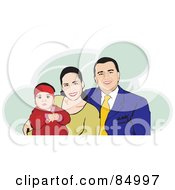 Royalty Free RF Clipart Illustration Of A Happy Hispanic Family With Mom Dad And A Baby Over Green Clouds