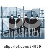 Royalty Free RF Clipart Illustration Of A Group Of Five Warehouse Workers Standing By Shelves