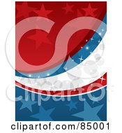 Royalty-Free (RF) Clipart Illustration of a Starry Red, White And Blue Sparkly American Colored Background by David Rey