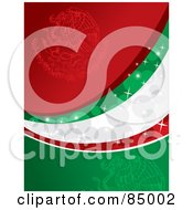 Royalty Free RF Clipart Illustration Of A Red Green And White Sparkly Mexican Colored Background by David Rey