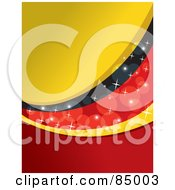 Royalty Free RF Clipart Illustration Of A Red Yellow And Black Sparkly German Colored Background Version 1