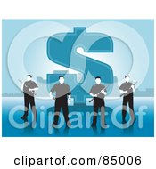 Royalty Free RF Clipart Illustration Of A Team Of Security Guards Standing In Front Of A Large Dollar Symbol