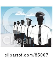 Royalty Free RF Clipart Illustration Of A Line Of Security Guards Standing Proud By A Building Under A Blue Sky by David Rey