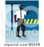 Royalty Free RF Clipart Illustration Of A Faceless Security Guard Holding His Hand Up And Standing By A Doorway