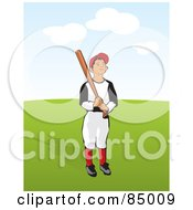 Royalty Free RF Clipart Illustration Of A Little League Baseball Boy Holding A Bat On A Green Field by David Rey