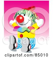Royalty Free RF Clipart Illustration Of A Colorful Party Clown Doll by David Rey