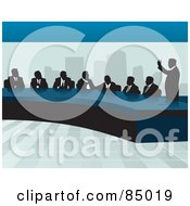Royalty Free RF Clipart Illustration Of A Corporate Business Team Discussing At A Table In An Office