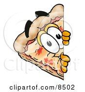 Slice Of Pizza Mascot Cartoon Character Peeking Around A Corner