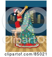 Royalty Free RF Clipart Illustration Of A Sexy Christmas Woman Putting The Star On Top Of Her Christmas Tree With A View Of The City by David Rey
