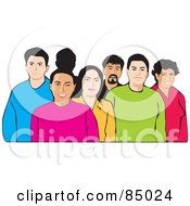 Royalty Free RF Clipart Illustration Of A Diverse Group Of Friendly People
