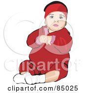 Royalty Free RF Clipart Illustration Of A Little Baby In A Red Outfit Sitting Up by David Rey