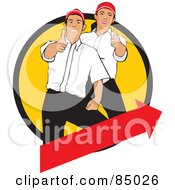 Royalty Free RF Clipart Illustration Of A Worker Man And Woman Holding Their Thumbs Up In A Yellow Circle Over A Red Arrow by David Rey