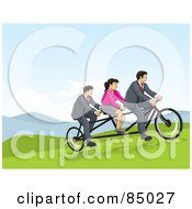 Two Businessmen And A Woman Riding A Tandem Bicycle On A Hill