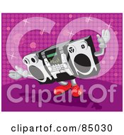 Royalty Free RF Clipart Illustration Of A Dancing Radio With Red Shoes Over A Pink Sparkly Background