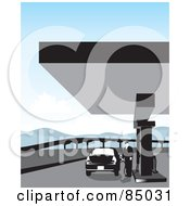 Royalty Free RF Clipart Illustration Of A Man Standing And Pumping Gas Into A Car At A Station by David Rey