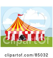 Royalty Free RF Clipart Illustration Of A Big Top Circus Tent On Grass Under The Clouds by David Rey