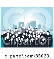 Royalty Free RF Clipart Illustration Of A Happy Group Of Faceless People Posing And Gesturing The A Ok Symbol Over Blue