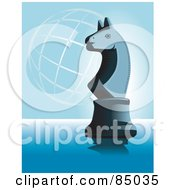 Royalty Free RF Clipart Illustration Of A Chess Knight Piece On Blue With A Wire Globe by David Rey