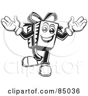 Royalty Free RF Clipart Illustration Of A Happy Black And White Present Guy