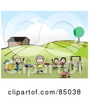 Royalty Free RF Clipart Illustration Of A Happy Family Swinging And Barbecuing In Their Yard