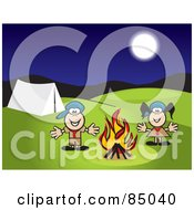 Royalty Free RF Clipart Illustration Of A Boy And Girl Scout Standing By A Campfire At Night by David Rey