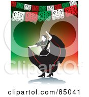 Graceful Mexican Folk Dancer Under Banners On Green And Red